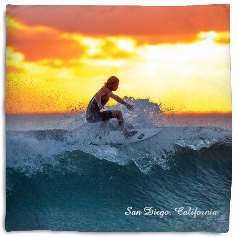 surfer - photo and name pillow